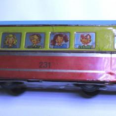 JUCARIE VECHE TRAMVAI, TABLA, ANII 70 extrem de rar; este functional - Trenulet, Vagoane