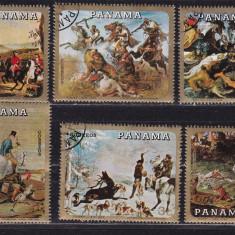 Panama  1968  pictura  caini  cai  MI 1110-15    stampilat  w38