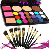 Trusa machiaj MAC 24 culori profesionala Fard Blush + 10 pensule kabuki blending, Mac Cosmetics