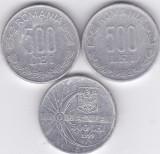 """Moneda Romania 500 Lei 1999/2000 - KM#145 si 146 (3 monede, incl. """"eclipsa"""") VF+"""