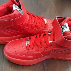 Adidasi unisex gheata NIKE AIR FORCE ONE Rosu Red Rosii marimi 36 - 44 - Adidasi dama Nike, Piele sintetica