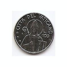Vatican 100 Lire 1990 - Ioannes Pavlvs II, 18, 3 mm KM-223 UNC!!!, Europa