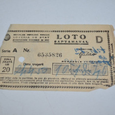 Bilet Loto Saptamanal 20 lei si program Pronosport R. P. R.