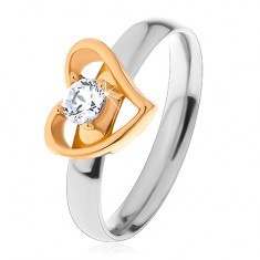 Inel bicolor realizat din oțel 316L - contur de inimă asimetrică, zirconiu transparent - Inel argint