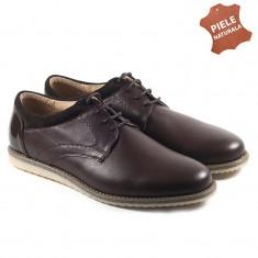 Pantofi barbati piele naturala JONES 2 maron (Marime: 39) - Pantof barbat, Casual