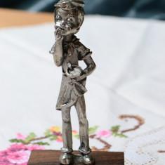 VECHI OBIECT DECORATIV /STATUETA DIN COSITOR, PELTRO, COPIL BUCATAR - Metal/Fonta, Statuete