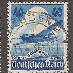 Germania nazista, aviatie, 10 ani Lufthansa, 1936, stampilat, zvastica