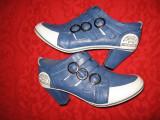 Botine piele Actonic Boutique Mar 40,5/ 41, Albastru, Piele sintetica
