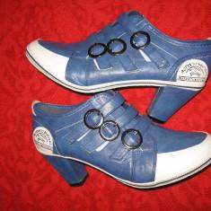 Botine piele Actonic Boutique Mar 40, 5/ 41 - Botine dama, Culoare: Albastru, Piele sintetica