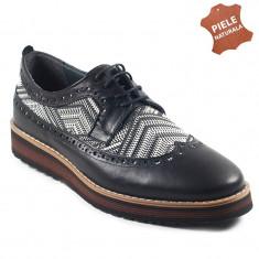 Pantofi barbati piele naturala JONES 1 negru + gri (Marime: 41)