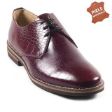 Pantofi barbati piele naturala JONES 1 bordo croco (Marime: 44) - Pantof barbat, Casual