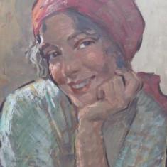 Fata cu basma rosie - Pictor roman