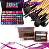 Trusa machiaj Farduri profesionale 56 culori MAC + 15 pensule + fard sprancene, Mac Cosmetics
