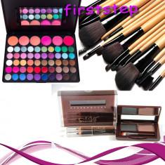 Trusa machiaj Mac Cosmetics Farduri profesionale 56 culori MAC + 15 pensule + fard sprancene