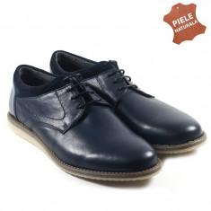Pantofi barbati piele naturala JONES 2 bleumarin (Marime: 41) - Pantof barbat, Casual