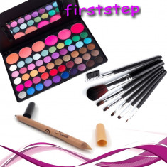 Trusa machiaj 56 nuante MAC farduri profesionale cosmetice Set 7 pensule Creion - Trusa make up