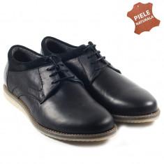 Pantofi barbati piele naturala JONES 2 negru (Marime: 39) - Pantof barbat, Casual