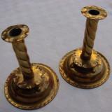Set de doua sfesnice din alama lucrate manual - Metal/Fonta
