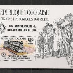 Togo.1985 Locomotive-Bl. supr. ST.710 - Timbre straine, Nestampilat