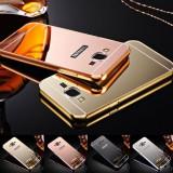 Cumpara ieftin Husa / Bumper aluminiu + spate acril oglinda Samsung Galaxy J1 (2016) / J120F, Alt model telefon Samsung, Negru