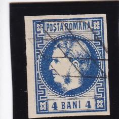ROMANIA 1868, CAROL I CU FAVORITI VALOAREA 4 BANI ALBASTRU STAMPILAT - Timbre Romania