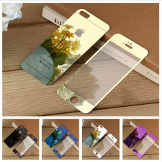 IPhone 4 / 5 / 5s / SE set folii sticla securizata model oglinda color