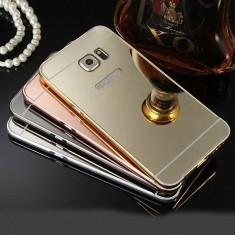 Husa / Bumper aluminiu + spate acril oglinda Samsung S6 edge plus / S6 Edge +, Negru