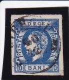 1871 LP 31 b CAROL I CU BARBA NEDANT. VAL. 10 B ALBAST POINCON HEIMBUCHLER, Stampilat