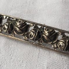 Brosa DEPOSE Franta 1900 argint art nouveau Trandafiri Splendida de Colectie