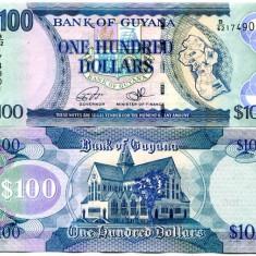 !!! GUYANA - 100 DOLARI (2016 ) - P 36 NEW - UNC // SEMNATURI NOI // TDLR - bancnota america