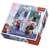 Puzzle Frozen - Anna, Elsa si Kristoff 4 in 1