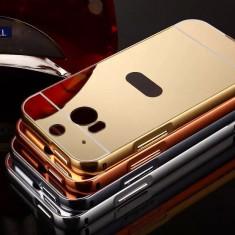 Husa / Bumper aluminiu + spate acril oglinda pentru HTC M8 / M8s - Bumper Telefon, Argintiu