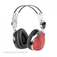 CASTI AUDIO KRUGER&MATZ (PALISANDRU), Casti On Ear, Cu fir, Mufa 3, 5mm, Active Noise Cancelling