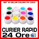 KIT SET 12 MODELE GEL GELURI COCO PT LAMPA UV COLOR COLORATE 5ML (8G)
