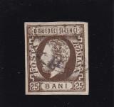 ROMANIA  1871 , CAROL I  BARBA  NED. VAL 25 B  BRUN , STAMP POINCON  HEIMBUCHLER