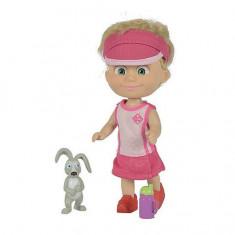 Masha si ursul Papusa Masha atleta cu iepuras 9302117 Simba, 4-6 ani, Plastic, Fata