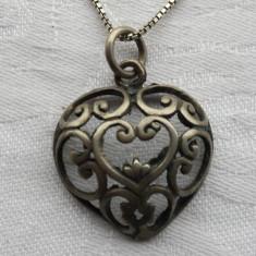 Medalion argint Franta 1900 INIMIOARA art nouveau pe Lant argint Vintage Superb