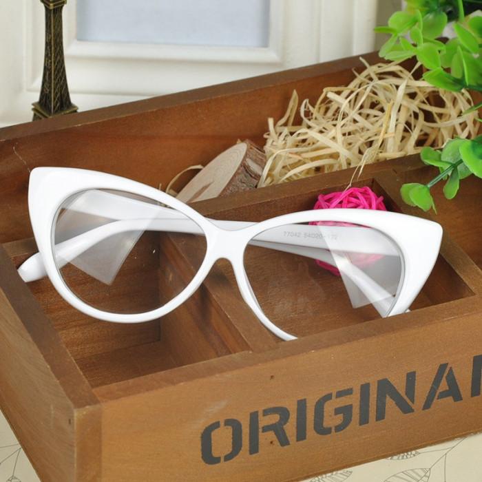 Ochelari de dama / fete Cat Eyes lentila transparenta fara dioptrii ALB foto mare