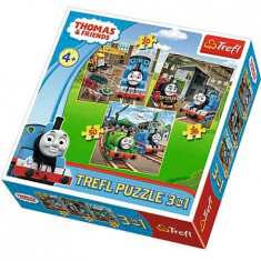 Puzzle 3 in 1 Thomas si prietenii in actiune 34821 Trefl