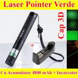 Laser 10000mw + Cap Animatii 3D + Acumulator 5800 mAh + Incarcator raza 8-10km - Laser pointer