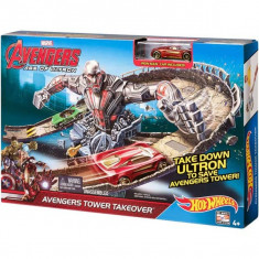 Jucarie Hot Wheels Pista acrobatica Age of Ultron Avengers Tower Takeover CDD27 Mattel - Masinuta