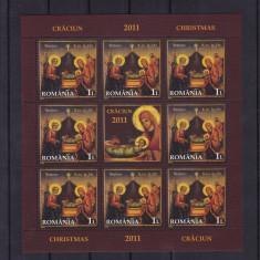 ROMANIA 2011, LP 1921 e, CRACIUN MINICOALA 8 TIMBRE + 1 VINIETA MNH - Timbre Romania, Nestampilat