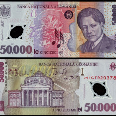 50000 LEI 2001 POLIMER UNC NECIRCULATA - Bancnota romaneasca
