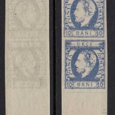 CAROL CU BARBA 1872 - 10 BANI ULTRAMARIN IN PERECHE CU EROARE LP 31c - MNH - Timbre Romania, Nestampilat