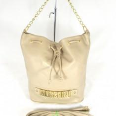 Geanta gen rucsac bej Moschino+CADOU - Geanta Dama Moschino, Culoare: Din imagine, Marime: Mare, Geanta saculet, Asemanator piele