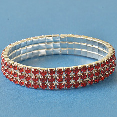 Bratara de dama placata cu aur de 9k si cristale rosii - Bratara placate cu aur