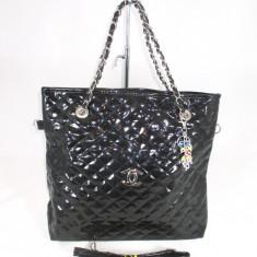 Geanta dama neagra piele ecologica lucioasa Chanel+CADOU, Culoare: Din imagine, Marime: Mare, Geanta de umar, Negru, Asemanator piele