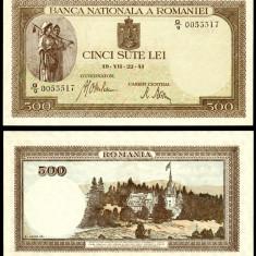 500 LEI 22 iulie 1941 filigran orizontal UNC necirculata - Bancnota romaneasca