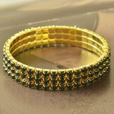 Bratara de dama placata cu aur de 9k si cristale verzi - Bratara placate cu aur, Femei