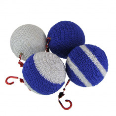 Set 4 globuri crosetate manual, Buticcochet, diametru 8 cm, Albastru cu argintiu - Globuri brad